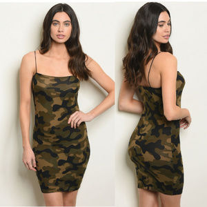 NWT CAMOUFLAGE BODYCON DRESS SIZE Sm, Med, Lg